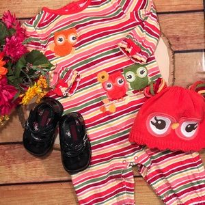 🆕 Gymboree Owl Outfit w/ matching Hat size 6-12m